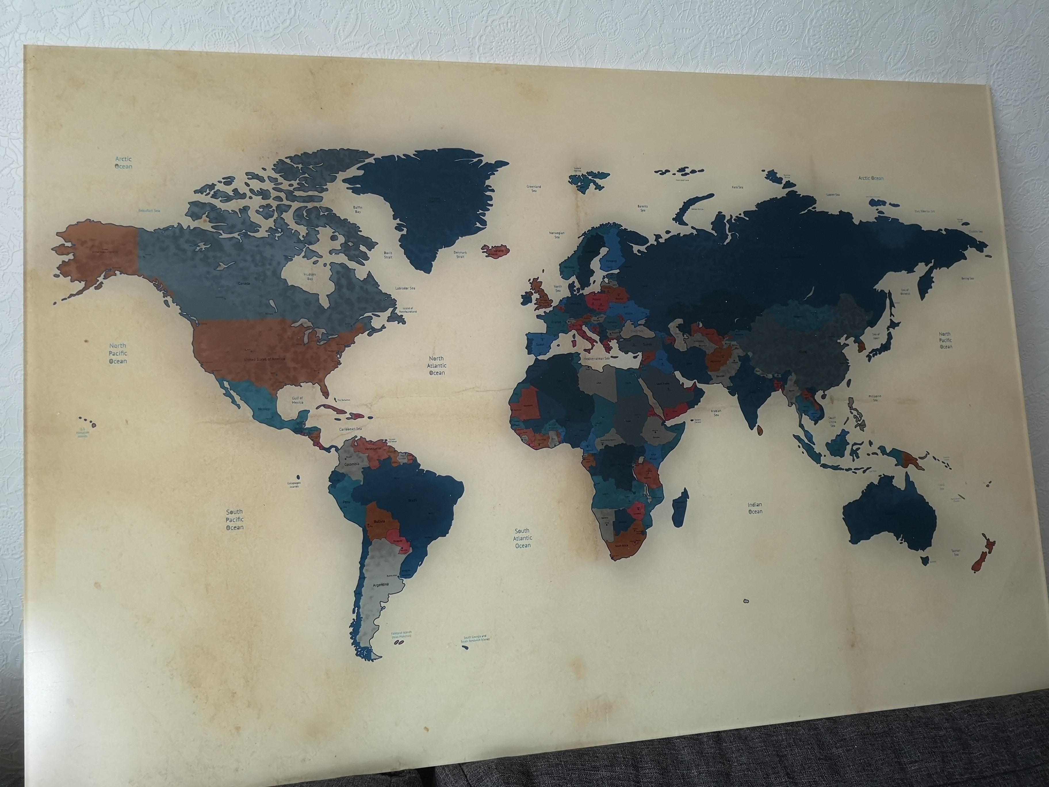 wereldkaarten op glas